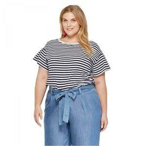 NWT Ava Viv Women's Shirt Navy Stripe Pleated 4X